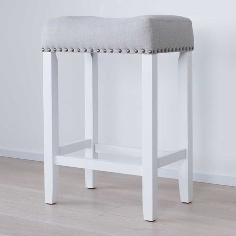 "Nathan James 21301 Hylie Nailhead Wood Kitchen Counter Bar Stool, 24"", White"