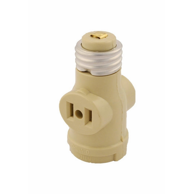 Leviton 1403-I 660 Watt, 125 Volt, Two Outlet Socket Adapter, Ivory