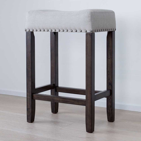 "Nathan Home 21302 Hylie Nailhead Wood Kitchen Counter Bar Stool, 24"", Gray Upholstered Fabric Cushion, Dark Gray Finish"