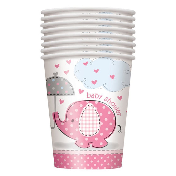 9oz Pink Elephant Girl Baby Shower Paper Cups, 8ct