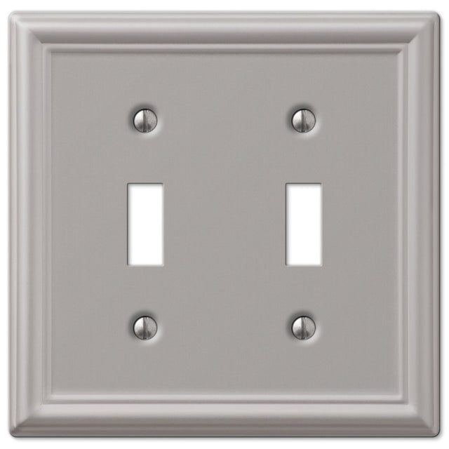AmerTac 149TTBN Chelsea Steel Double Toggle Wallplate, Brushed Nickel