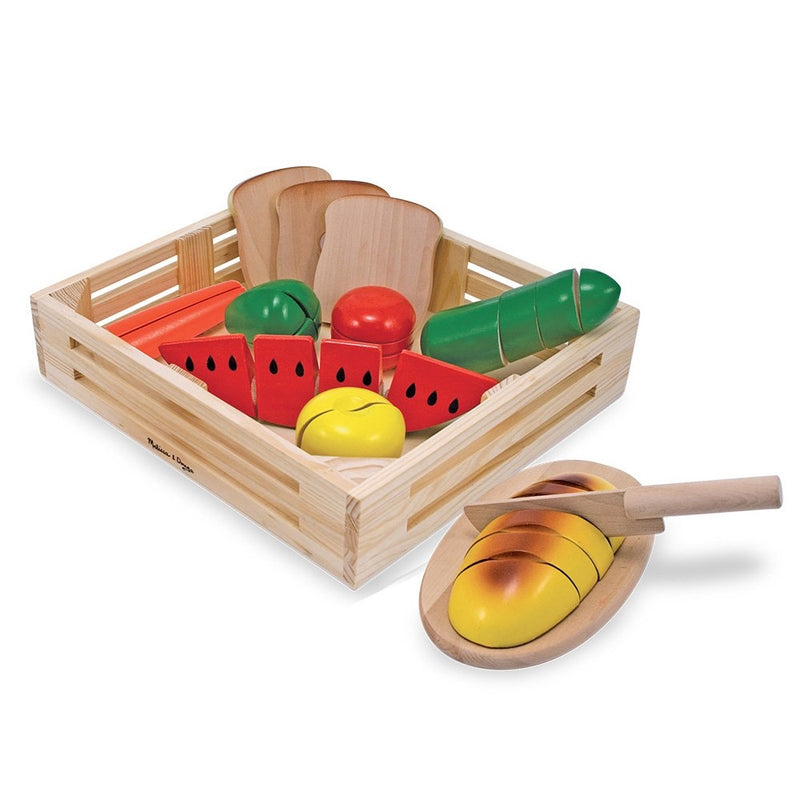 Melissa & Doug Cutting Food - Play Food Set With 25 Hand-Painted Wooden Pieces, Knife, and Cutting Board