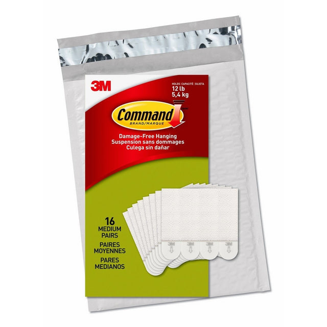 Command Medium Picture Hanging Strips, White, 16 Pairs, Four Pairs Hold 12 lbs (PH204-16ES) - Easy to Open Packaging