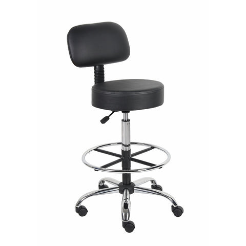 Boss Office Products B16245-BK Be Well Medical Spa Drafting Stool with Back,Black