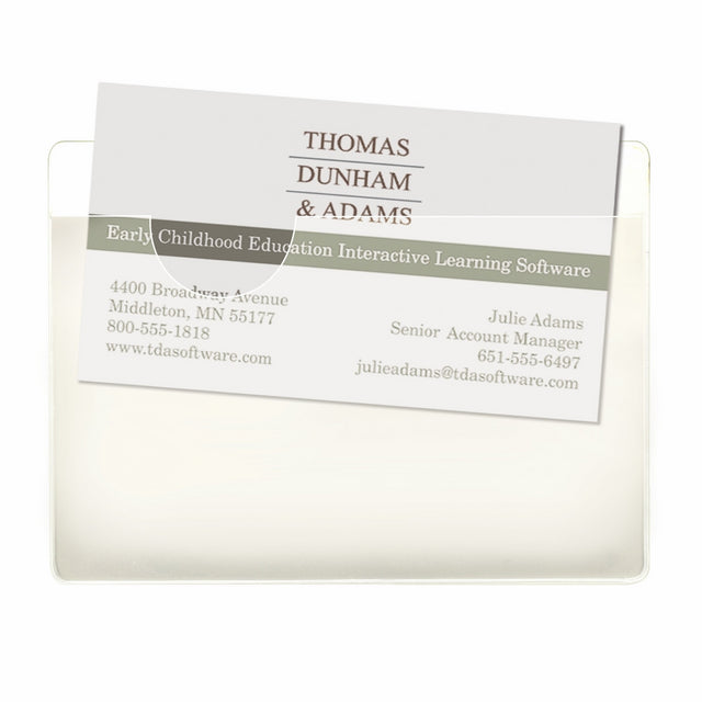 "Smead Self-Adhesive Poly Pockets, Business Card Size (4-1/16""W x 3"" H), Clear, 100 per Box (68123)"