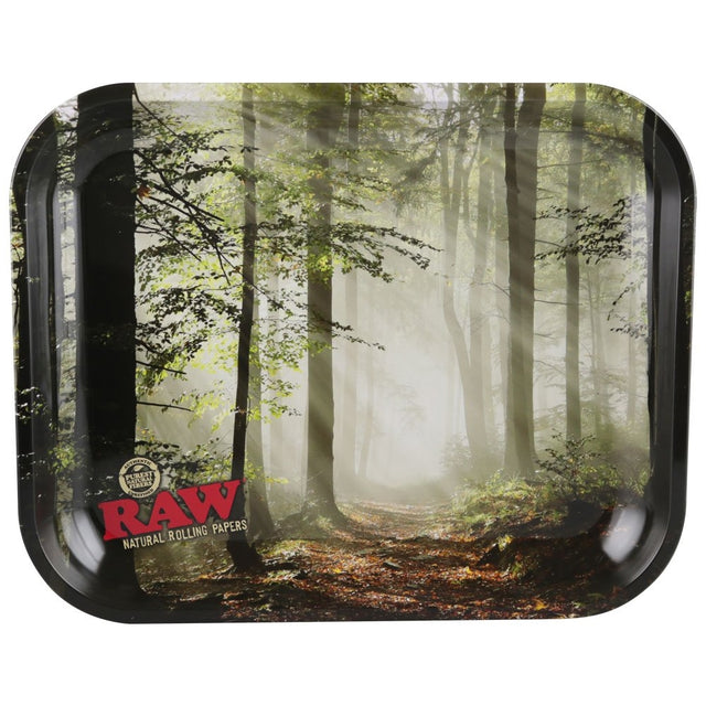 "RAW Smokey Forest Trees Metal Rolling Tray (Large 13.5""x11"")"