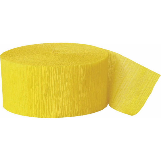 81ft Bright Yellow Crepe Paper Streamers