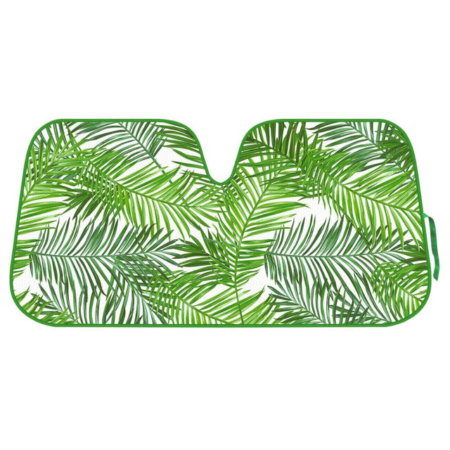 Tropical Leaves Auto Windshield Sun Shade for Car SUV Truck - Balmy Fern - Double Bubble Foil Jumbo Folding Accordion