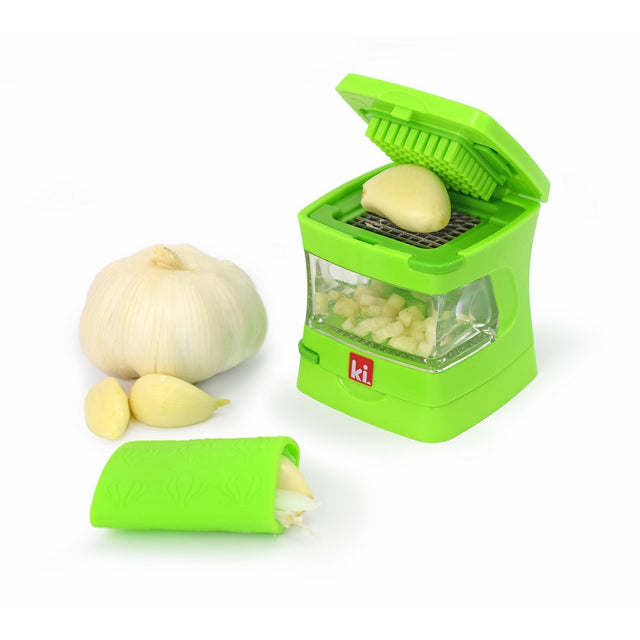 Kitchen Innovations Garlic-A-Peel Garlic Press, Crusher, Mincer, and Storage Container - Includes Silicone Garlic Peeler - Easy to Clean - Stainless Steel Blades – Green