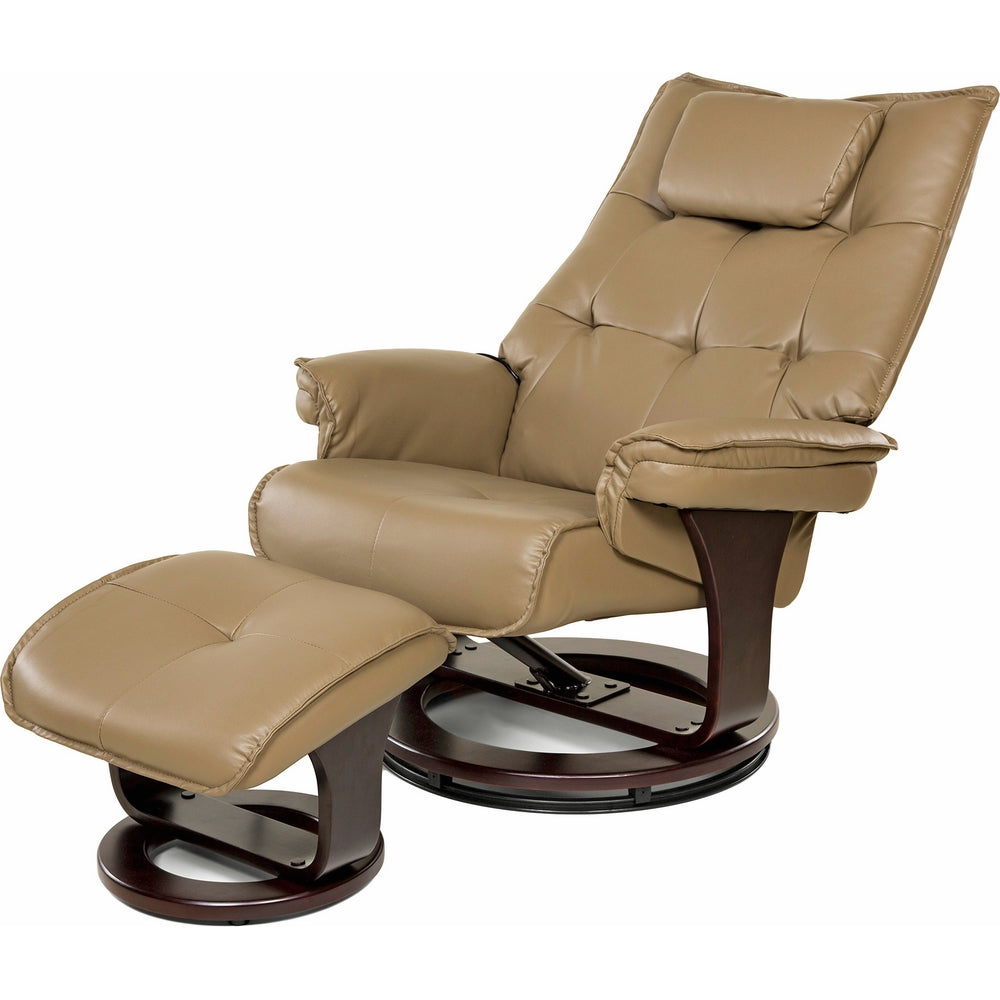 Relaxzen 8-Motor Massage Recliner with Lumbar Heat and Ottoman, Mocha Brown