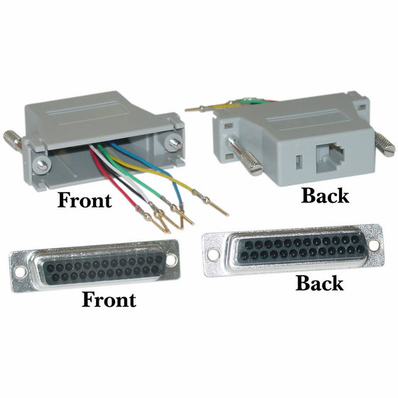 CableWholesale Modular Adapter, Gray, DB25 Female to RJ12