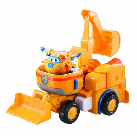 "Super Wings - Dozer | Toy Vehicle Set |, Includes Transform-a-Bot Donnie Figure | 2"" Scale"