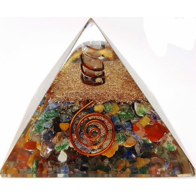 7 Chakra Crystal Orgone Pyramid Kit/Includes 4 Crystal Quartz Energy Points/EMF Protection Meditation Yoga Energy Generator