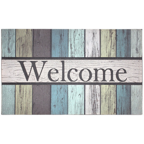 "J&M Home Fashions Non-Slip Outdoor/Indoor Printed Flocked Welcome Doormat, 18x30"", Heavy Duty Entry Way Shoes Scraper Patio Rug Dirt Debris Mud Trapper Waterproof-Painted Fence"