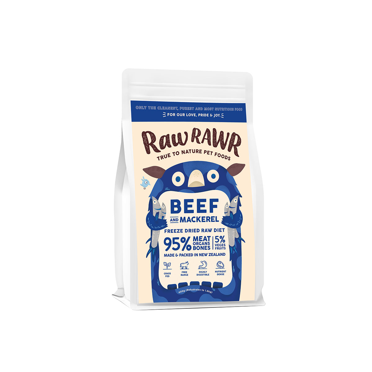 Raw Rawr Freeze Dried Balanced Diet - Beef & Mackerel