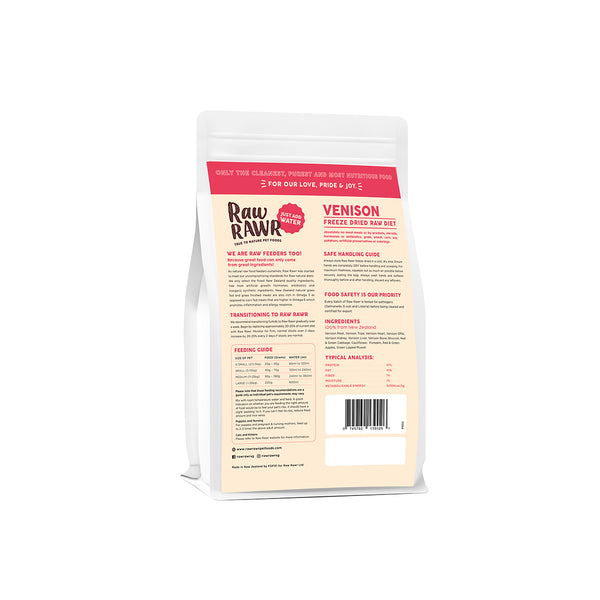 Raw Rawr Freeze Dried Balanced Diet - Venison
