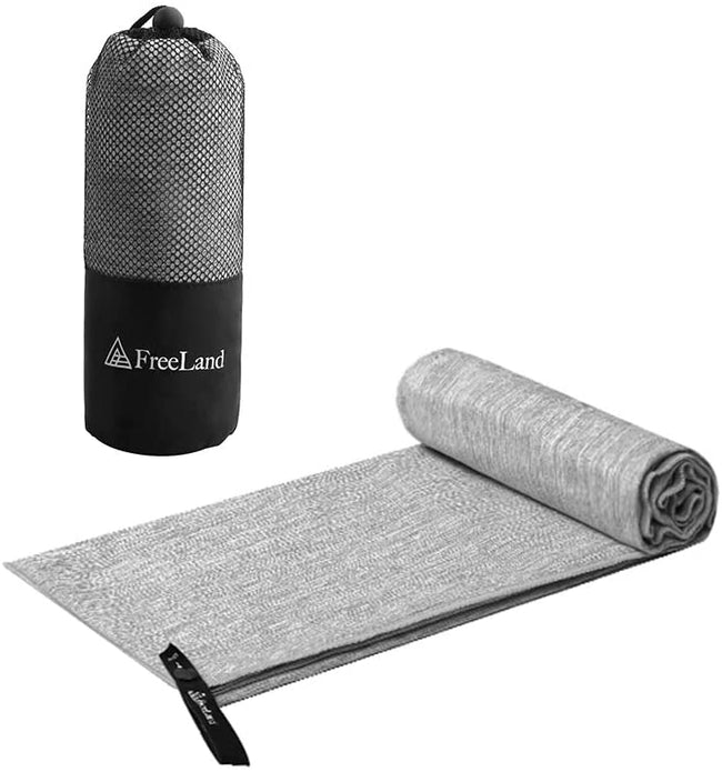 FreeLand Microfiber Camping Towels for Backpacking Beach Swimming Hiking Travel Gray Marle