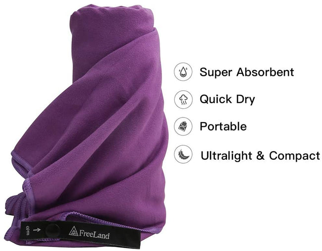 FreeLand Quick Dry Super Absorbent Microfiber Camping Towels Purple