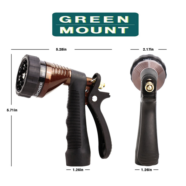 GREEN MOUNT Water Hose Nozzle Spray Nozzle with Adjustable Spray Patterns