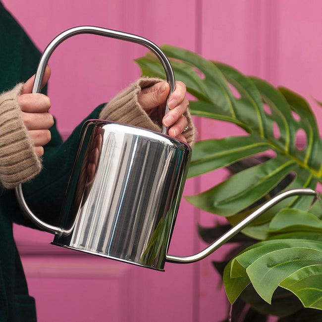 1pc 1.3L Plants Watering Can Stainless Steel Watering Pot Long Spout Succulents Watering Kettle Gardening Tool