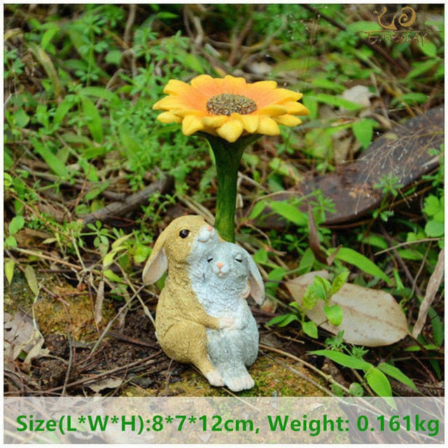 Everyday Collection Easter Decorations for Home Cute Rabbit Figurines Miniature Tabletop Ornaments Fairy Garden Thanksgiving