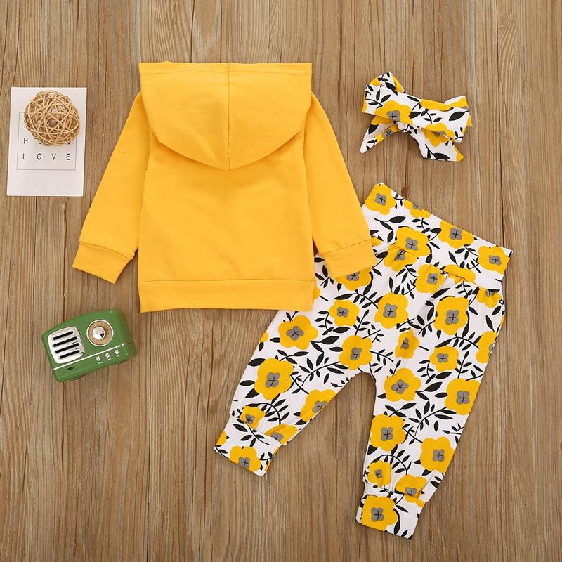 3-piece Hoodie & Headband & Floral Pattern Pants for Toddler Girl Wholesale children's clothing