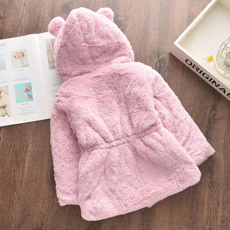 Solid Plush Puffer Jacket for Toddler Girl Wholesale children's clothing