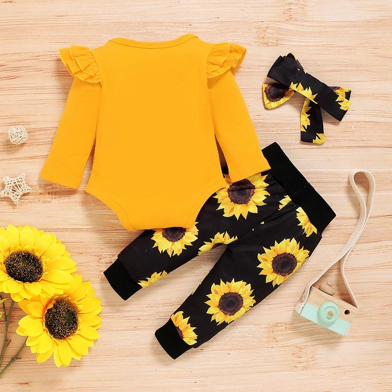 3-piece Letter Pattern Bodysuit & Pants & Headband for Baby Girl Wholesale children's clothing