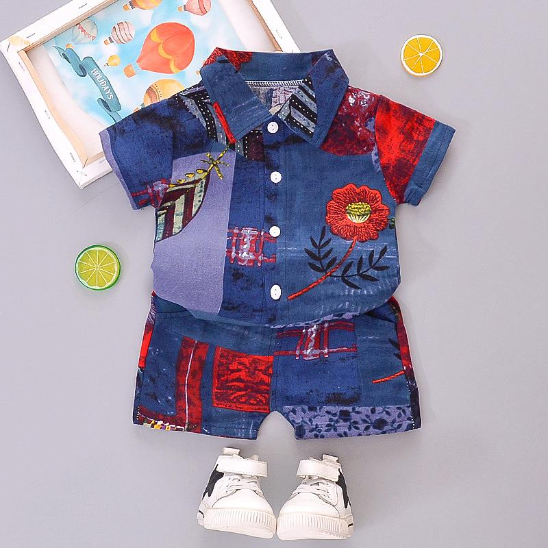 2-piece Floral Short Sleeve Shirt & Shorts for Children Boy - PrettyKid
