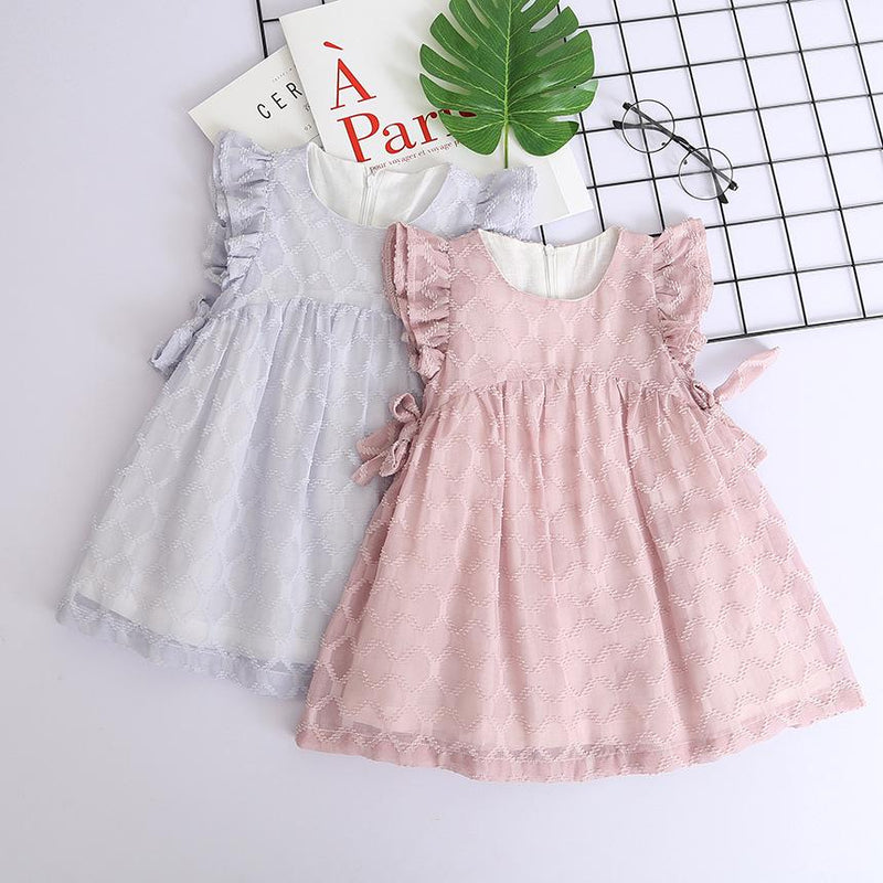Girls Chiffon Fly Sleeve Dress Lovely Sweet Solid Color Princess Skirt - PrettyKid