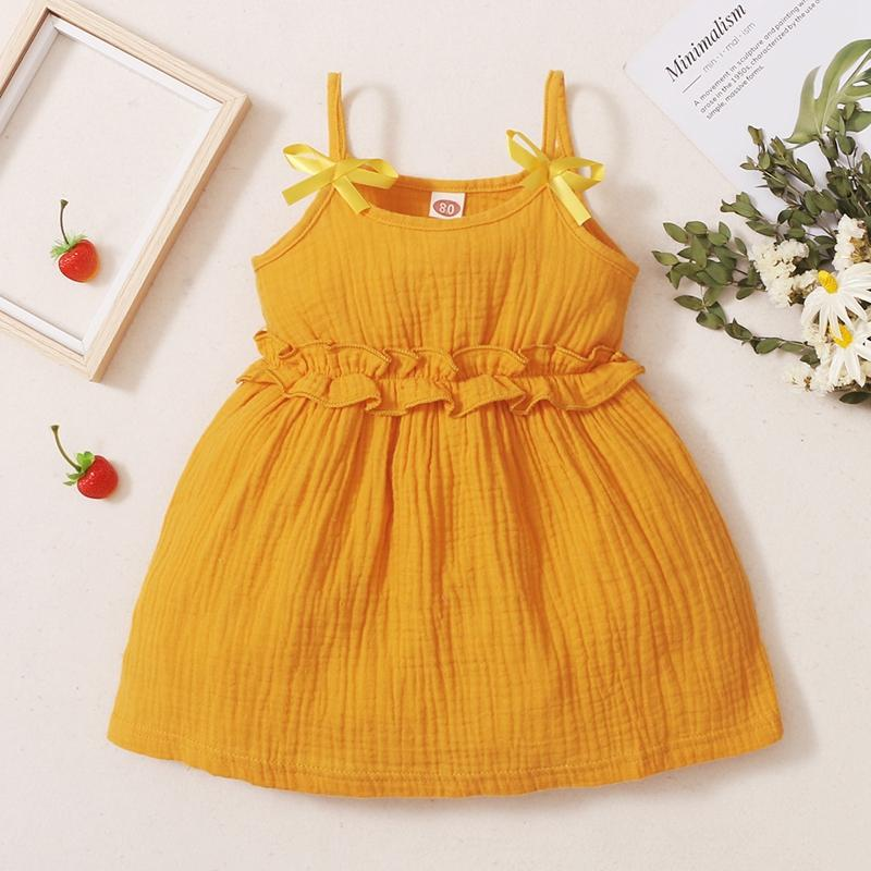 Toddler Girl Solid Pattern Summer Cotton linen sling skirt Wholesale Children's Clothing