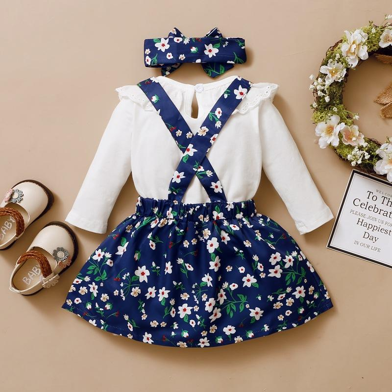3-piece Shirt & Floral Skirt & Floral Headband for Baby Girl - PrettyKid