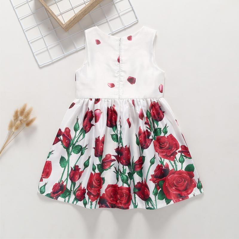 Summer Girl's Rose Flower Print Dress