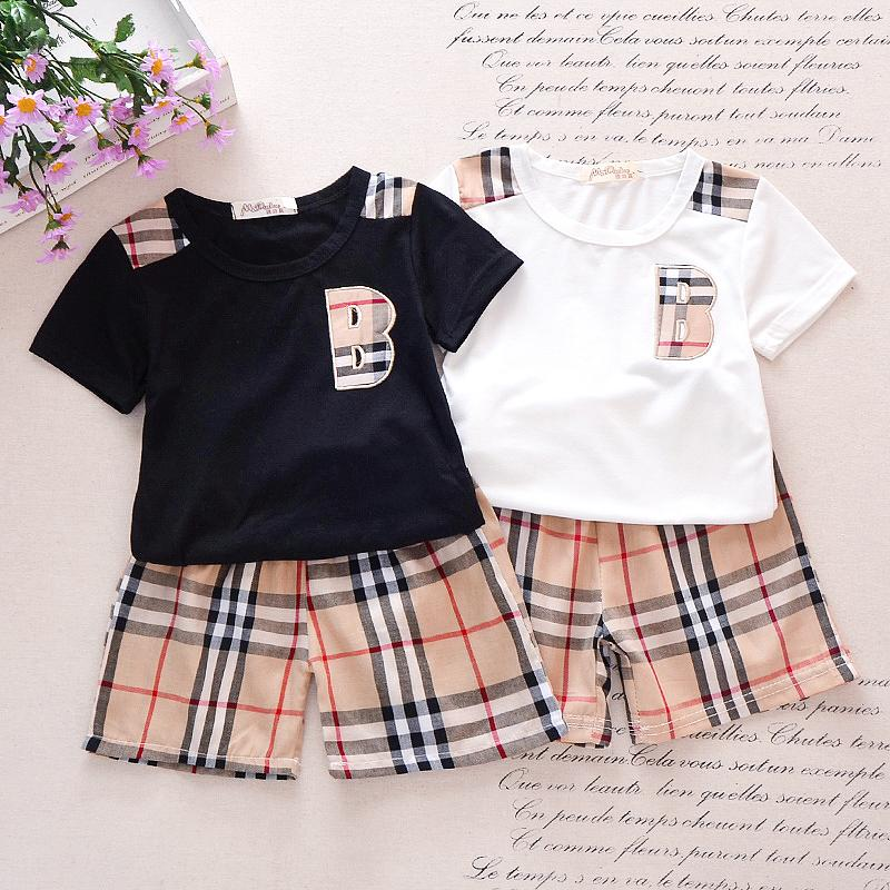 Classic Plaid Letter Short-sleeve Tee and Shorts Set Children's clothing wholesale - PrettyKid