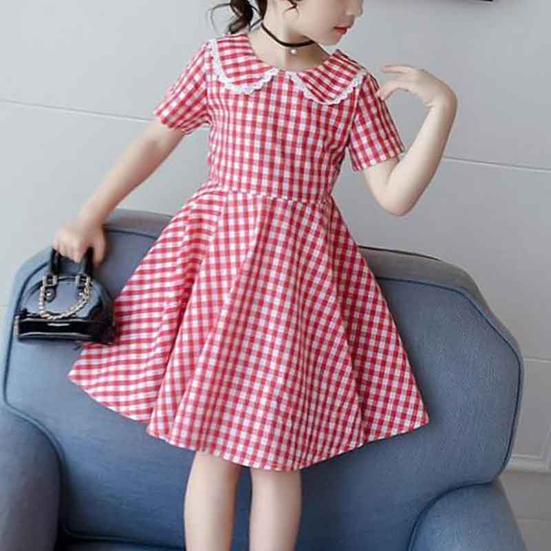 Sweet Plaid Dress for Girls Wholesale Children's Clothing