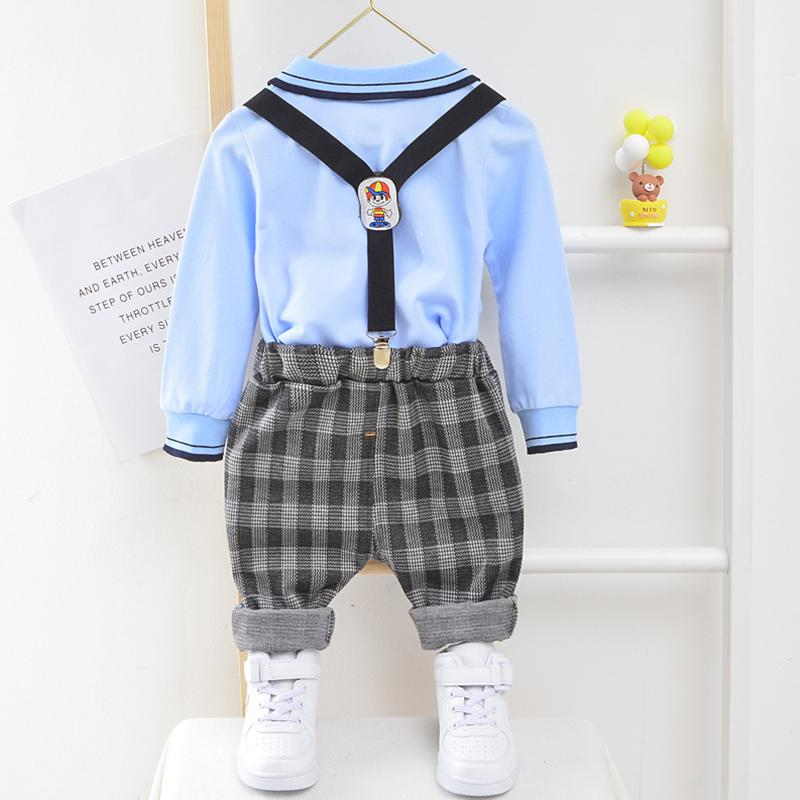 2-piece Long Sleeve Polo Shirt & Plaid Pants for Toddler Boy Wholesale children's clothing