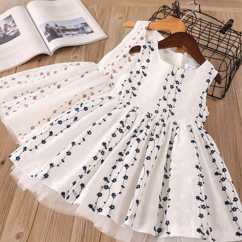 Girls Cotton Embroidered Dress Sleeveless Tulle Princess Dress