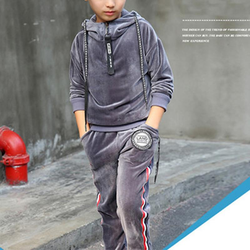 2-piece Casual Solid Hoodie & Pants for Boy Wholesale children's clothing