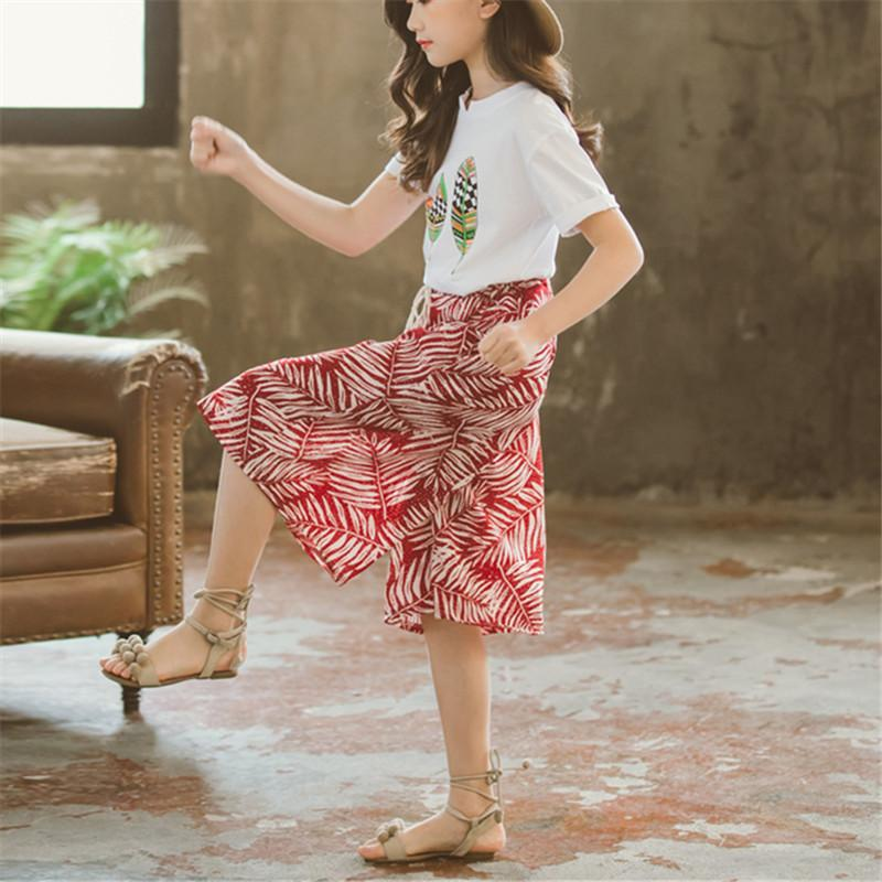 2-piece Plant Printed T-Shirt&Skirt for Girl - PrettyKid
