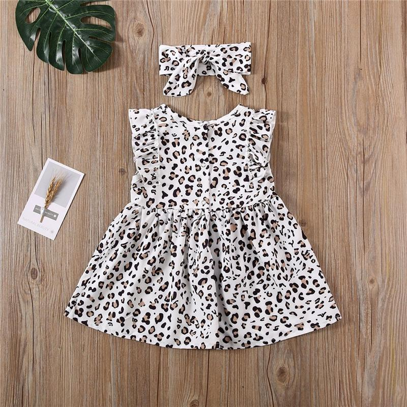 2-piece Leopard Pattern Dress & Headband for Toddler Girl Children's clothing wholesale - PrettyKid