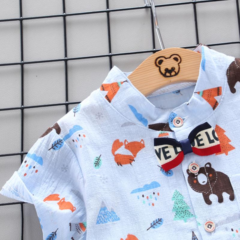 Toddler Boy Cartoon Print Short-sleeved Shirt & Solid Color Shorts Wholesale Children's Clothing