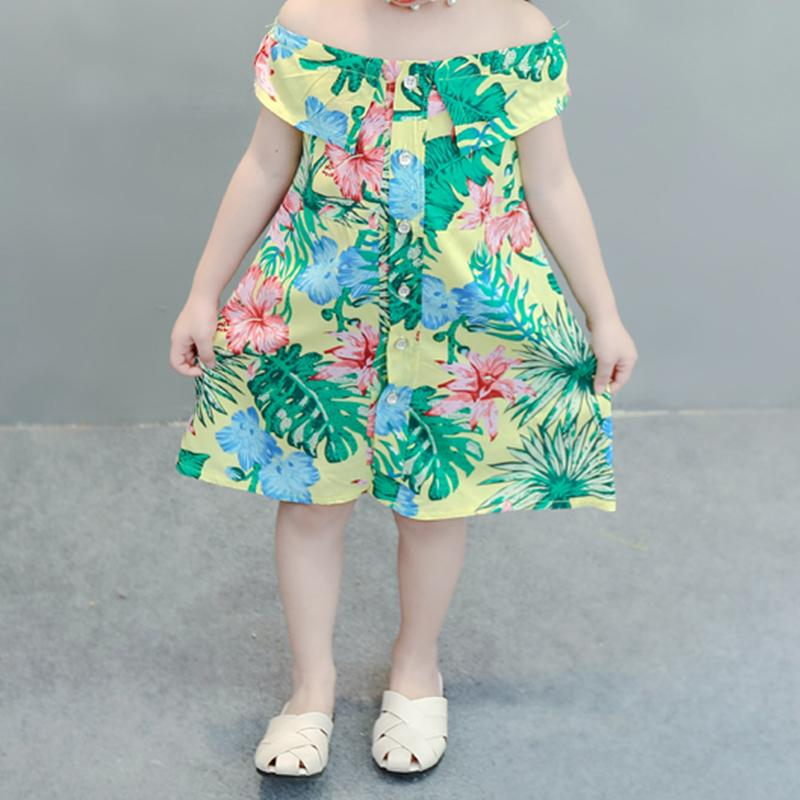 Tropical Print Dress for Toddler Girl Wholesale Children's Clothing