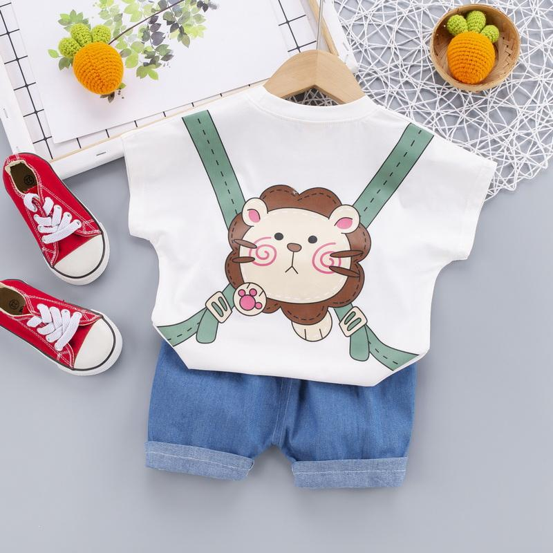 2-piece Lion Pattern T-shirt & Shorts for Children Boy - PrettyKid