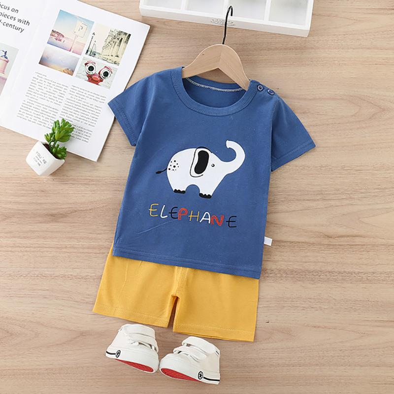 2pcs Cute Cartoon Print T-shirt and Pants - PrettyKid