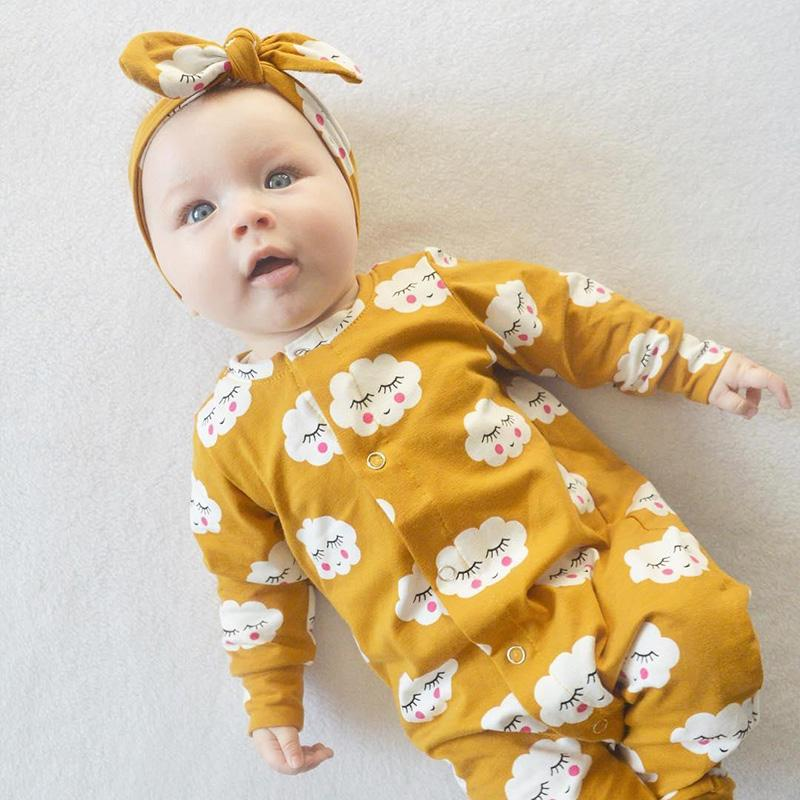 Cute Yellow Cloud Smiley Printed Long-sleeve Jumpsuit Wholesale children's clothing