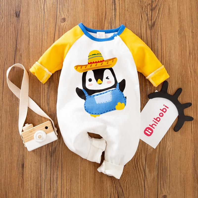 Cartoon Penguin Color Match Jumpsuit for Baby Wholesale children's clothing - PrettyKid
