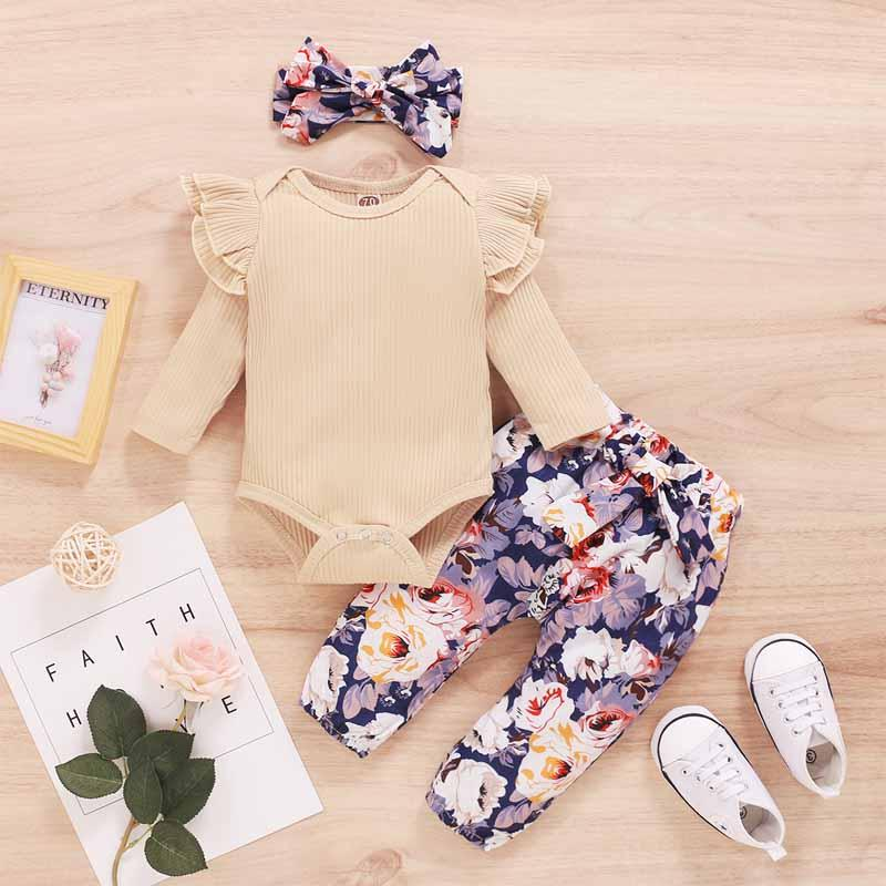 3-piece Solid Ruffle Bodysuit & Floral Printed Pants & Headband for Baby Girl - PrettyKid
