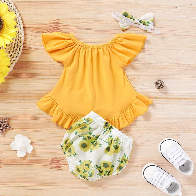 3-piece Romper & Floral Headband & Floral Shorts for Baby Girl Wholesale Children's Clothing