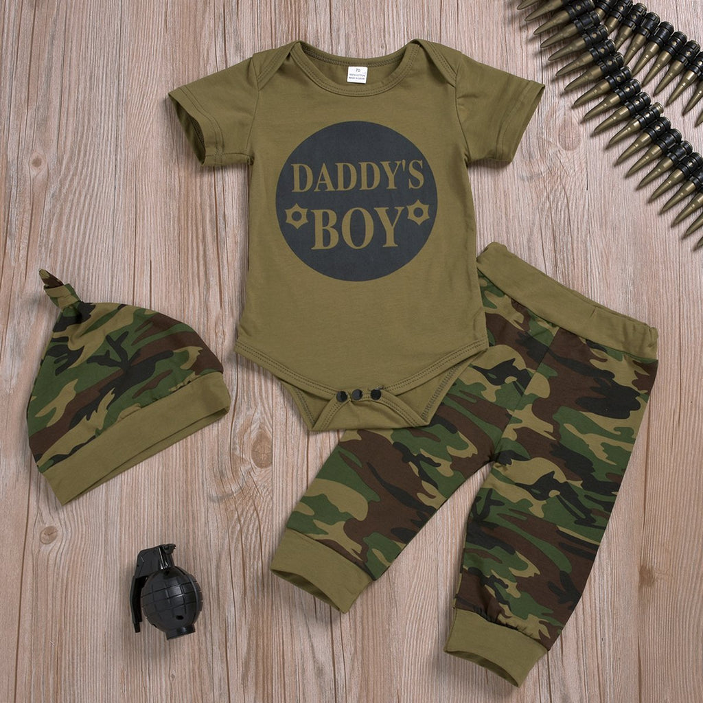 3-Piece Short-Sleeve Letter Print Bodysuit, Camouflage Pants and Hat for Baby Clothing Wholesale - PrettyKid