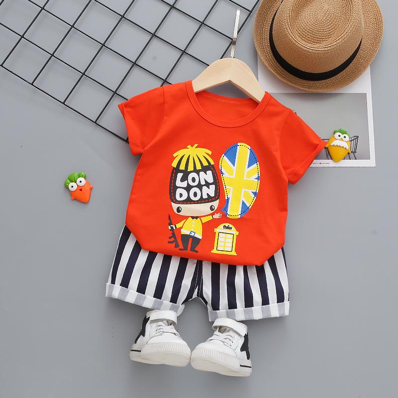 2-piece Cartoon Design T-shirt & Shorts for Toddler Boy Wholesale children's clothing
